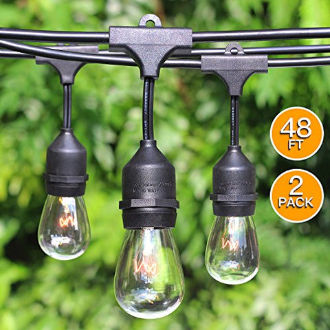 2-Pack 48Ft Heavy Duty Outdoor Patio String Lights, Edison Vintage Dimmable 11S14 Bulbs w/Hanging Sockets, Commercial Grade Weatherproof Market Cafe Lights for Bistro Backyard Pergola Party, Blk
