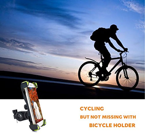 YIVAN Bike Phone Mount Holder-Mounted on Bicycle and Motorcycle Handlebar, 4.5-7 Inch Suitable For any Smart Cell Phone, No Tool Installation, Shockproof Anti-slip Silicone Material(Green)