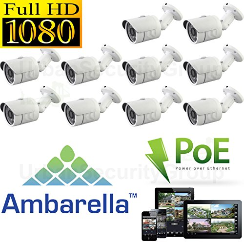 (10x Ten) USG Sony + Ambarella DSP 2.4MP 1080P HD-IP PoE Network Bullet Security Camera - 3.6mm Wide Angle Lens - Home/Business Video Surveillance - Outdoor/Indoor IP66 Weatherproof Vandalproof 24x IR LEDs