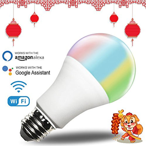 AvatarControls Smart Wifi Light Bulb,Multi-Color Dimmable 7W RGB LED Bulbs,Wireless Remote Control Switch ON/OFF Home Lighting on APP by Android & IOS Devices,Compatible with Alexa/Google Assistant