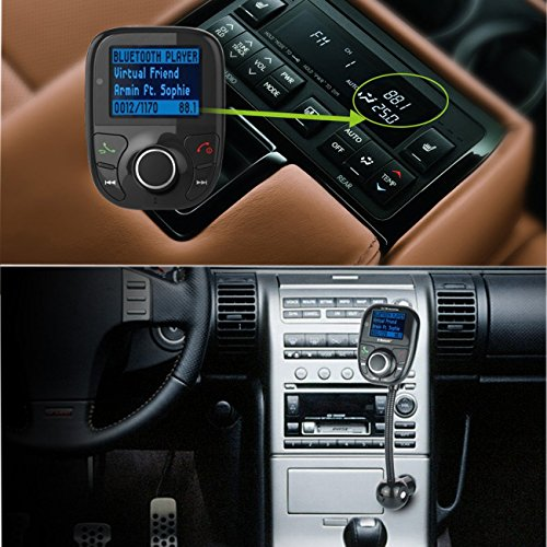 FlatFin Car Wireless Bluetooth MP3 FM Transmitter Radio Adapter with Hands  Free Calling & Remote for Apple iPhone 7 6S Plus iPod iPad, Samsung Galaxy