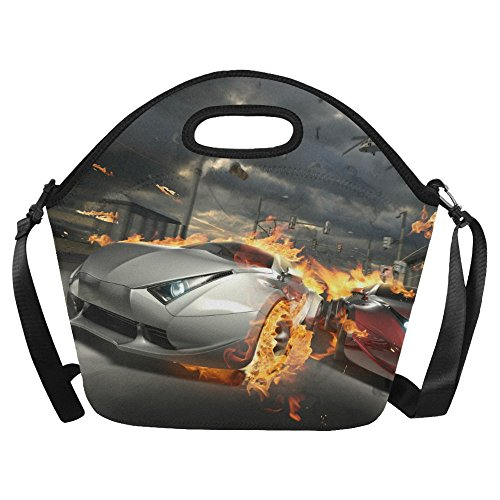 aa52ea00e30e InterestPrint Burning Race Car Fire Large Reusable Insulated Neoprene Lunch  Tote Bag Cooler 15.04