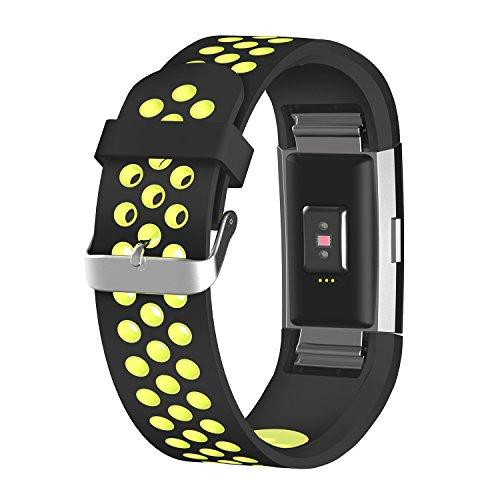 Urvoix Fitbit Charge 2 Wristbands Breathable Silicone Replacement Accessories Smart Watch Wrist Band Strap, Large (for Fitbit Charger2)