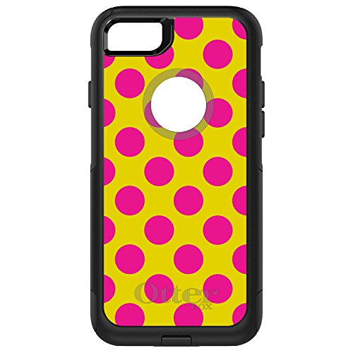 wholesale dealer 15148 f4f51 iPhone 7 Plus iPhone 8 Plus OtterBox Commuter Black Custom Case By  DistinctInk - Yellow Hot Pink Polka Dots