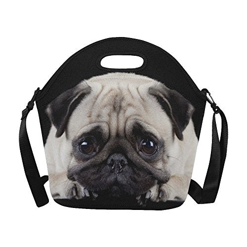 55406086f608 InterestPrint Large Insulated Lunch Tote Bag Cute Pug Dog Reusable Neoprene  Cooler, Funny Animal Portable Lunchbox Handbag with Shoulder Strap
