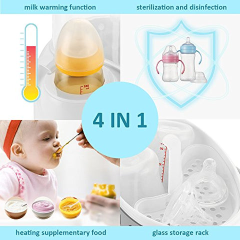 Baby Bottle Warmer, Steam Sterilizer & Baby Food Formula Heater, Night Cravings Smart Thermostat 4-in-1 with Fast Transit Heat, Real Time Temperature LCD Monitor and Accurate Temperature Control