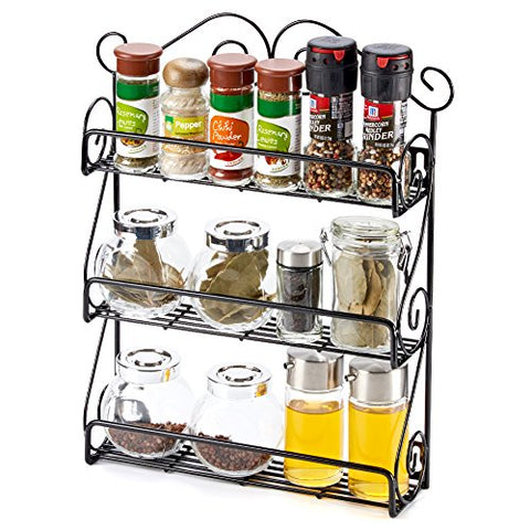 3-Tier Spice Rack EZOWare Spice Jars Bottle Holder Storage Organizer Shelf Rack for Kitchen Scroll Wall Mounted, Pantry, Cabinet, Counter top or Free Standing - Black