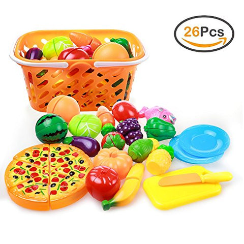 ZOUTOG Play Food, 26 Pieces Cutting Food Set for Kids Kitchen, Cooking Toys with Fruits / Veggies / Pizza / Storage Basket for Toddlers