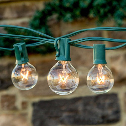 Brightech - Ambience - Outdoor String Lights with 25 G40 Clear Globe Bulbs - Commercial Quality - UL Listed - Indoor and Outdoor Use - Natural Warm White Light - Green Wire
