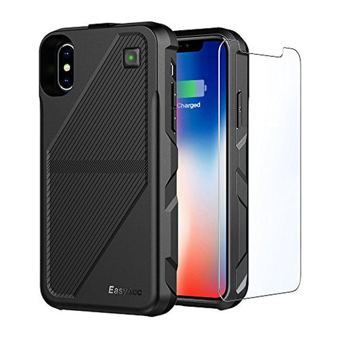 Wireless Battery Case for iPhone X, EasyAcc 5000 mAh Extended Battery Charger Case for iPhone 10 - Black