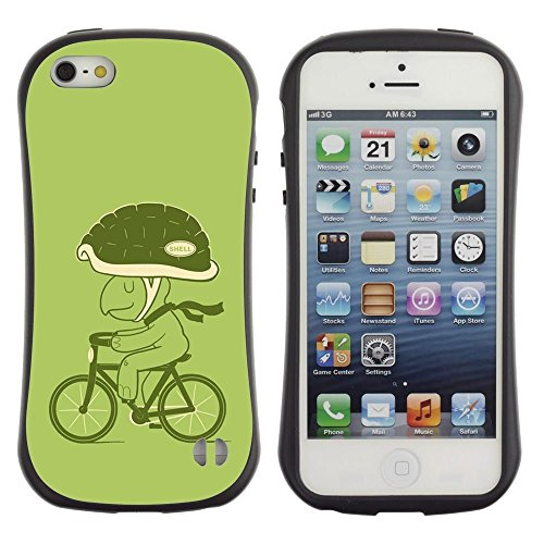 Pulsar iFace Series Soft TPU Skin Bumper Case Cover for Apple iPhone SE / iPhone 5 / iPhone 5S , Bicycle Green Lifestyle Turtle Eco Art Helmet