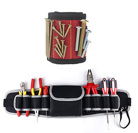 Tool Belt Pouch, Electrical Maintenance Tool Pouch Bag with Magnetic Wristband - Tool Pouch Holder for Electricians & Crafts - Helps to Carry your Tools, Better Organization in your projects