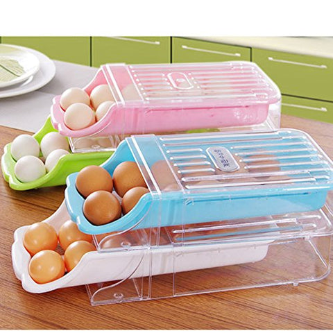 Zehui Egg Box Refrigerator Storage Plastic Drawer Type Egg Holder Box Container Dispenser Case Kitchen Home Pink