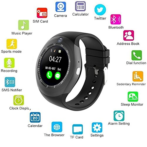 BENPAO Bluetooth Smart Watch Round with Micro-SIM Card Slot Camera Business  Watch Compatible with Samsung LG Sony HTC HUAWEI Google Xiaomi Android