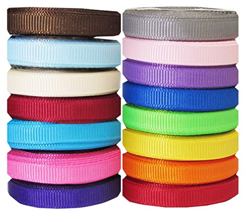 "Hipgirl 75 Yards 1/4"" Grosgrain Fabric Ribbon Set For Gift Package Wrapping, Hair Bow Clip Accessory Making, Crafting, Sewing, Wedding Decor, Boy Girl Baby Shower-(15x5yd 1/4"" Solid Ribbons)"