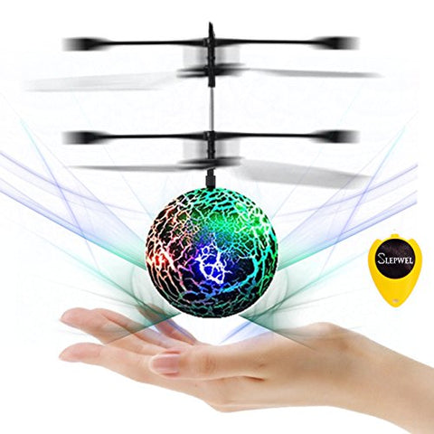 RC Helicopter Ball Flying Toys - Slepwel Remote Control Helicopter Built-in Flash LED Colorful Lighting for Boys and Girls toys - Drones for Kids Gifts (Green)