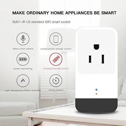 TOMNEW Wifi Smart Plug, Mini Smart Socket Works with Amazon Alexa Google  Home Electrical Power Switch for Household Appliances Remote Control From