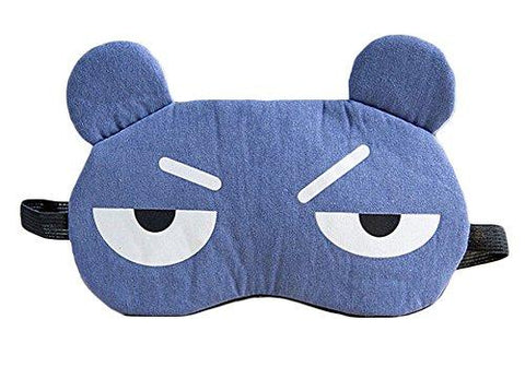 Novelty Unisex Cartoon Eye Sleep Mask Travel Sleepwear Blindfold Funny Gift Party Sleep Patch Blinder with Ice Bag (Dark-blue)