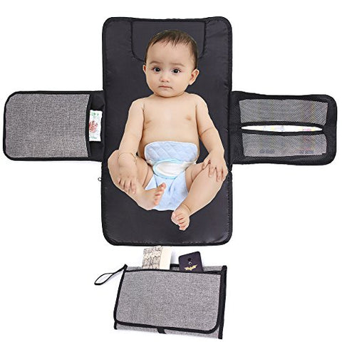 Delswin Baby Diaper Changing Pad with Head Cushion, Wipeable Waterproof Infant Portable Changing Station, Travel Changing Mat for Baby Care (Gray and Black)