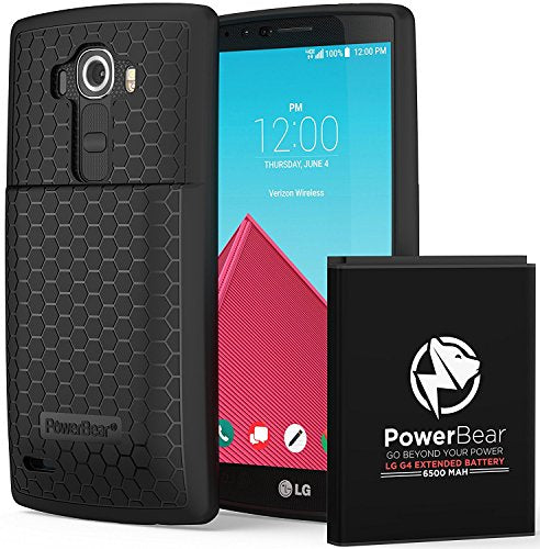 PowerBear LG G4 Extended Battery [6500mAh] UPGRADED (Up to 2.2X Extra Battery Power) - Black [24 Month Warranty & Screen Protector Included]