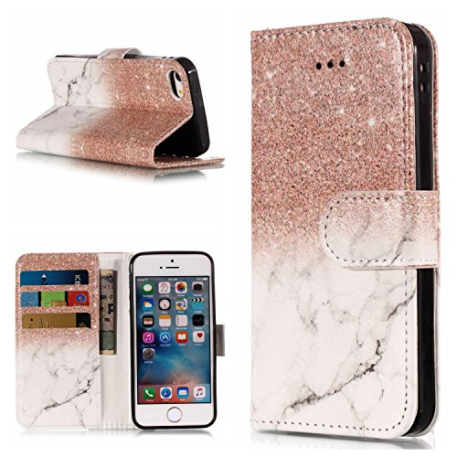 super popular 29d1c dac34 Gostyle iPhone 5 Case,iPhone 5S Case,iPhone SE Leather Wallet Case,Rose  Gold & White Marble Pattern Flip Stand Cover with Credit Card Holder,Soft  TPU ...
