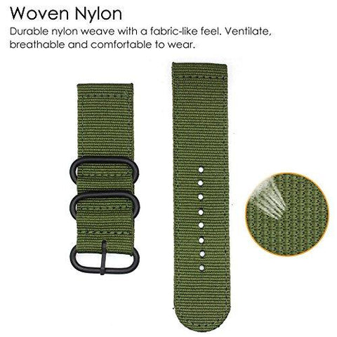 For Fitbit Versa Bands,ViCRiOR Woven Nylon NATO Watch Band Adjustable Replacement Sport Strap for Fitbit Versa Band Smart Watch Women Men,Army Green
