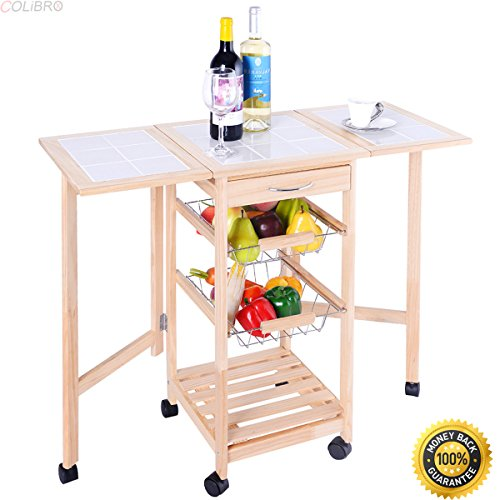 Colibrox Portable Rolling Wood Kitchen Trolley Cart Drop Leaf Storage Drawers Rack Basket Stenstorp Kitchen Cart Kitchen Cart Home Depot Granite