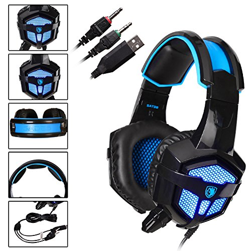 Sades SA738 Multi-platform PS4 Gaming Headset, Wired Over-ear Stereo  Computer Gaming Headphone with Microphone /Control remote/Noise-reduction  for PC