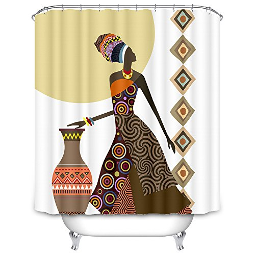 African Women Shower Curtain Decor By MugodAztec Pattern Woman With Vase Art Polyester