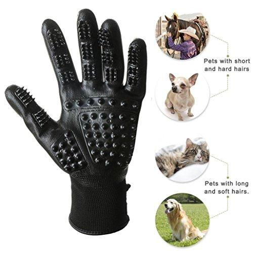 Pair Pet Grooming Gloves Nylon Rubber Dog Cats Bath Comb Cleaner Comfortable Pet Brush Hair Removal Fur Shedding Massage (Black) (Black)