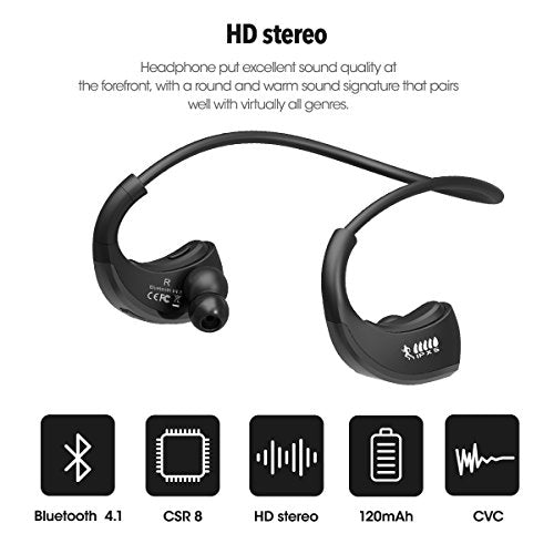 Bluetooth Headphones, Wireless Sports Earphones with Mic, Tested & Proven  Best Audio Quality Waterproof & Sweatproof Earbuds in HD Stereo for Gym,