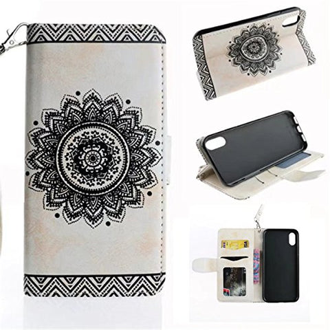 "iPhone X Case,Gift_Source [Emboss Mandala] [Stand Holder] Premium PU Leather Pouch Wallet Flip Magnetic Housing Cover Detachable Wrist Strap Case for Apple iPhone X (2017) 5.8"" [White]"