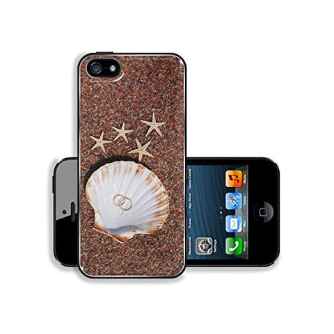 Liili Apple iPhone 5 iPhone 5S Aluminum Backplate Bumper Snap iphone5/5s Case IMAGE ID 39468683 Starfish on the beach with wedding rings