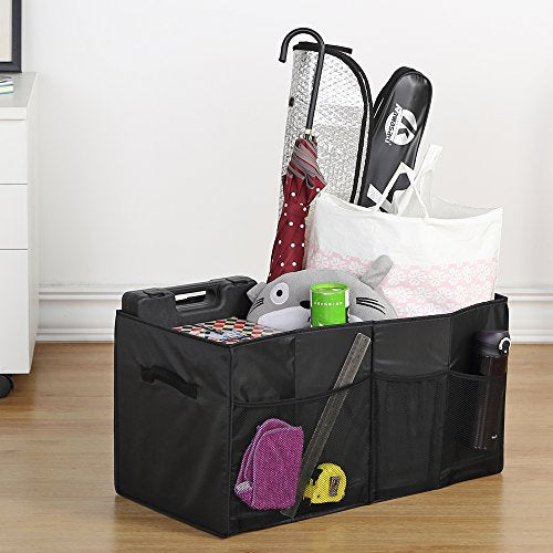 Trunk Organizer - Housen Solutions Collapsible Car Storage Organizer Bin with Dual Handles & Side Pockets, Durable Tetoron Portable Cargo Storage for Car SUV Truck Van Home, Black