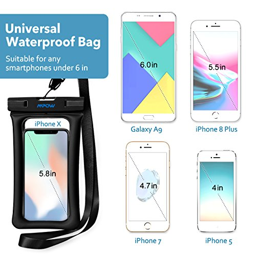 uk availability 725df 8cd73 Mpow Floating Waterproof Case, IPX8 Universal Waterproof Phone Pouch  Underwater Dry Bag for iPhone X/8/8plus/7/7plus/6s/6/6s plus Samsung galaxy  s9/s8 ...