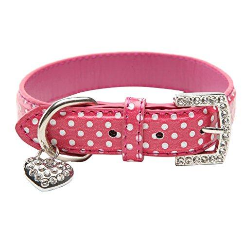 BINPET BA2028 Designer Polka Dots Leather Pet Puppy Dog Collar with Jeweled Heart Pendant Charms and Durable Metal Buckle , Pink X Small