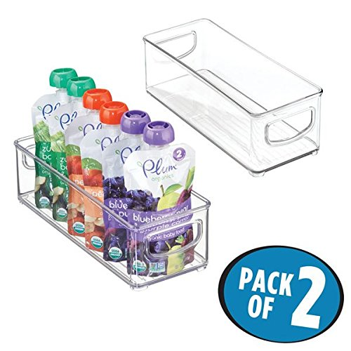 "mDesign Baby Food Kitchen Refrigerator Cabinet or Pantry Storage Organizer Bin with Handles for Pouches, Jars, Bottles, Formula, Juice Boxes – BPA Free, 10"" x 4"" x 3"", Pack of 2, Clear"