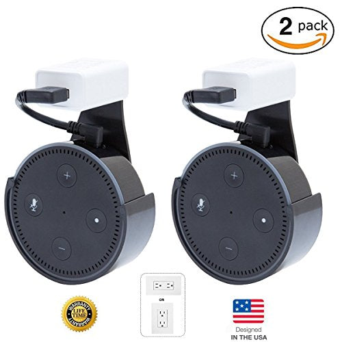 [UPGRADED] CloverTale Home Outlet Wall Mount Holder for Alexa Echo Dot, Home Mini, Bose, Anker round speakers Accessories (Black - 2 Pack)