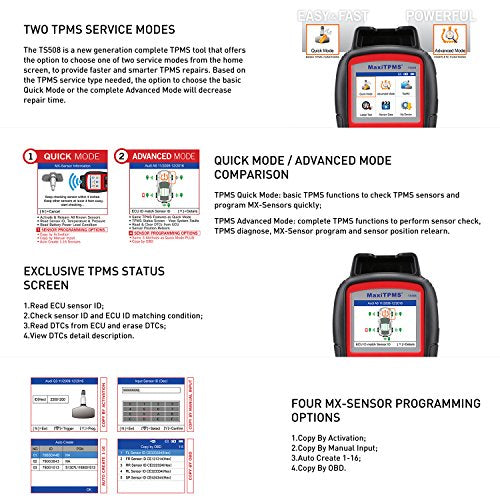 Autel MaxiTPMS TS508 TPMS Diagnostic Tool, Check TPMS System Health  Condition, Program MX-sensors and Conduct TPMS Relearn, With 4pcs 315MHz/  4pcs