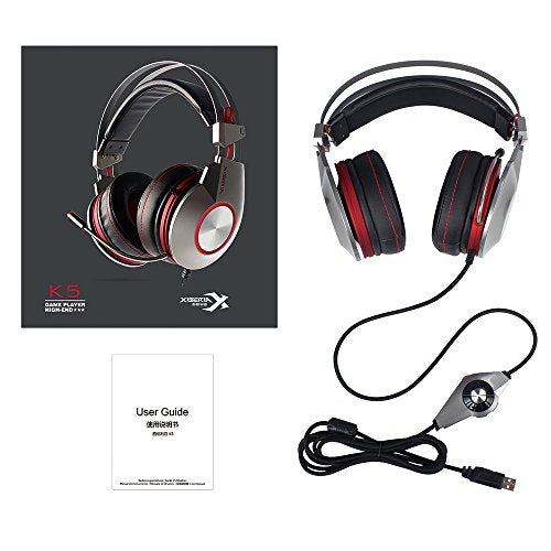 PC USB Gaming Headset with Microphone Mute PS4 Computer Headphones Surround  Sound Wired Over Ear In-Line Volume Control Play Pause LED Ring Light for