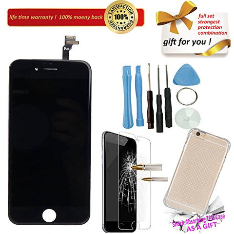 YST Replacement LCD Display w/ Plate / Lens for Damaged / Broken / Cracked Apple,Screen Touch Panel + Digitizer Assembly for iPhone 6 6g 4.7 inch Black, Repair Tool kit + TPU Case + HD Tempered Glass