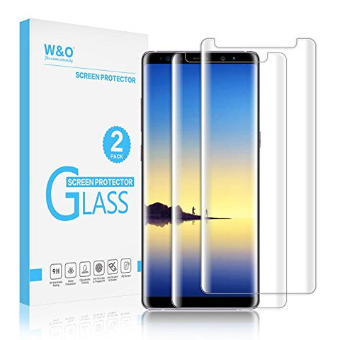 [2-Pack] Glass Screen Protector for Samsung Galaxy Note 8, W&O Note 8 Tempered Glass Protector Film Curve Edge Case Friendly HD Definition