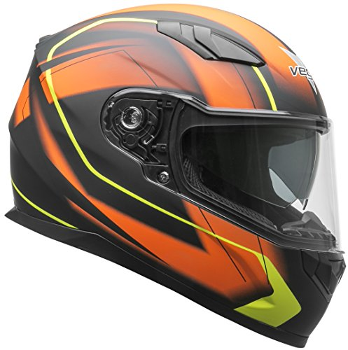Vega Helmets RS1 Street Sunshield Motorcycle Helmet - DOT Certified Full Facerbike Helmet for Cruisers Sports Street Bike Scooter Touring Moped, Bluetooth Comp (Orange Slinger Graphic, Small)
