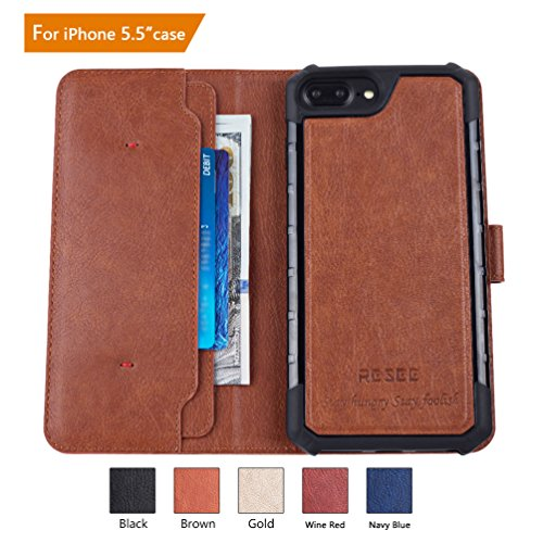 iPhone 7/8 Plus Wallet Case, iPhone 6s/6 Plus Case, RESEE [Detachable 2 in 1 Cover] PU leather Magnetic Case Flip Cover With Card Holder RFID Blocking Shock Absorption For iPhone 5.5 Inch - Coffee