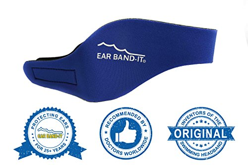 Ear Band-It Swimming Headband - Invented by Physician - Keep Water Out, Hold Ear Plugs In - The ORIGINAL Swimmer's Headband - Doctor Recommended - Secure Earplugs (Blue, Large (ages 10-adult))