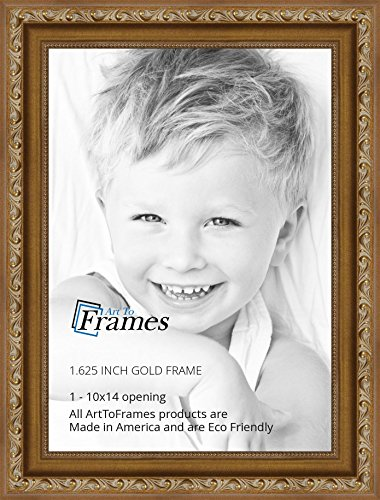 ArtToFrames 10x14 inch Gold with beads Wood Picture Frame ...