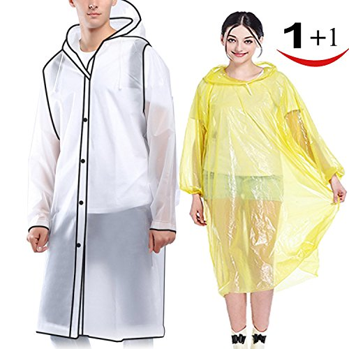 Suzzam Portable Adult Rain Poncho Emergency Rain Coat Jacket Tear Resistant Thick Unisex Reusable Durable with Drawstring Hood and Sleeves for Outdoors Hiking Camping or Traveling