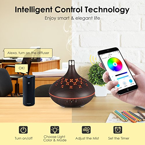 VicTsing Smart Wifi Essential Oil Diffuser, Works with Amazon Alexa and  Google Home, with App Control, 300mL Wood Grain Aroma Humidifier with 2