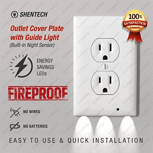 Outlet Wall Plate With Led Light Outlet Cover Plate With Guide