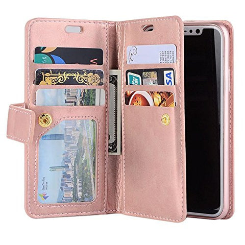 for iPhone 7 Plus Case iPhone 8 Plus Wallet Case, LAPOPNUT Luxury Wallet PU Leather Flip Case Dual Folio Card Slot Sleeve Housing with Wrist Strap Magnetic Stand Case Cover Cover , Rose Gold